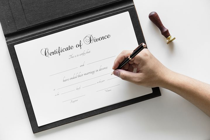 Divorce certificate being signed